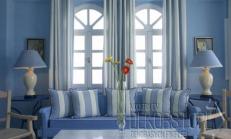 Mavi Beyaz Oturma Odası Modelleri