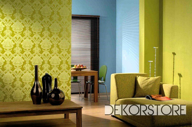 Living room wallpaper design with green color floral for Wallpaper designs for living room green