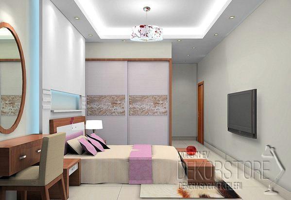 Yatak odası asma tavan modelleri 2014