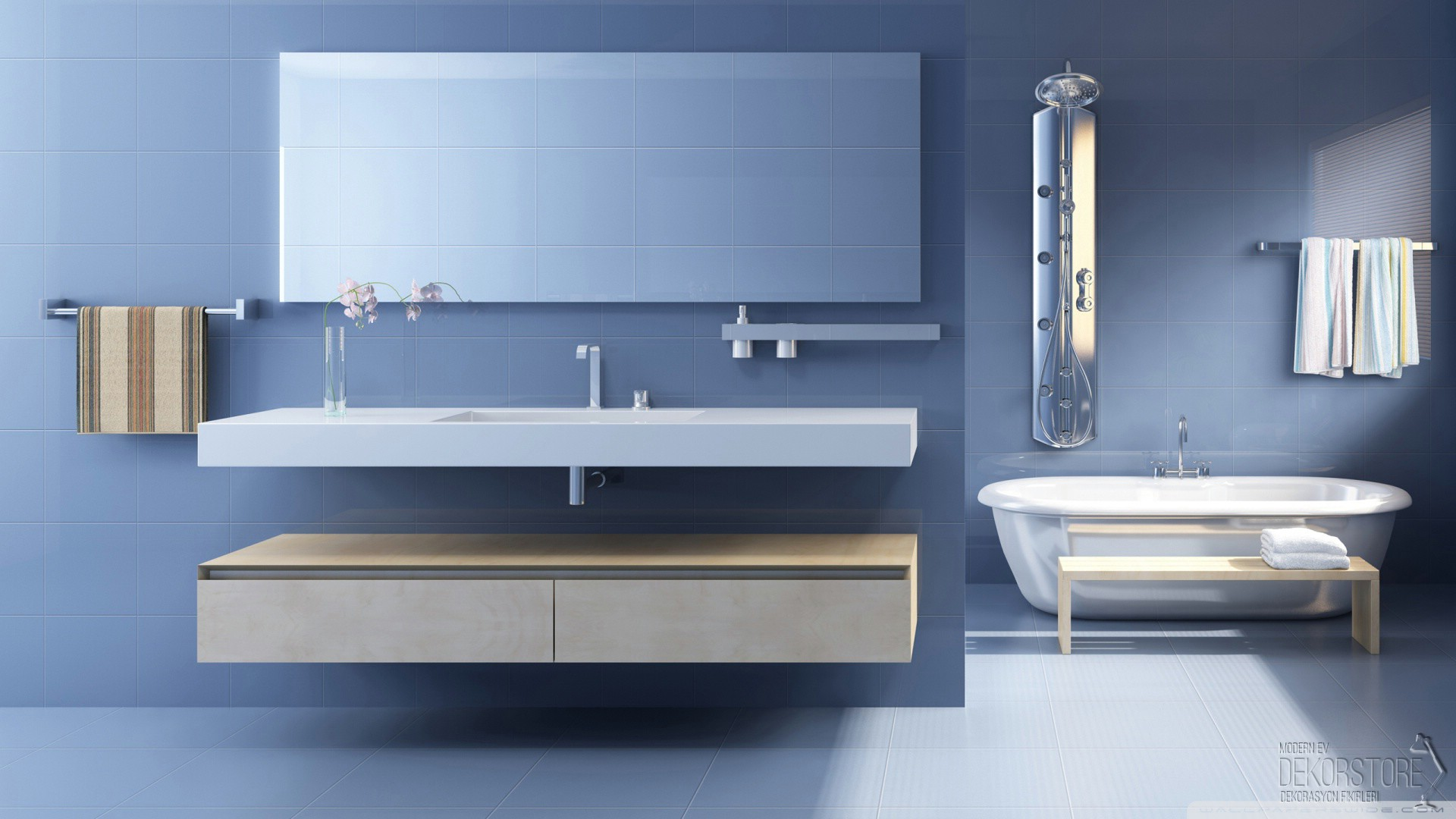 Modern banyo dopal modeli dekorstore for Bathroom wallpaper near me