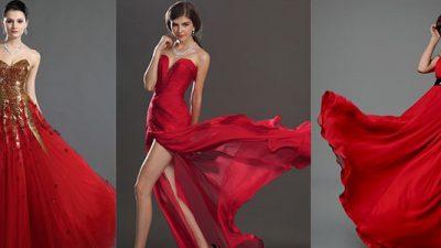 Kırmızı Abiye Elbise Modelleri 2014