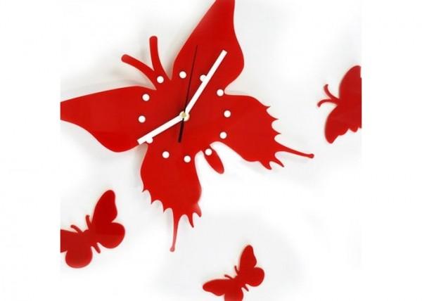 kırmızı kelebek modeli duvar saati