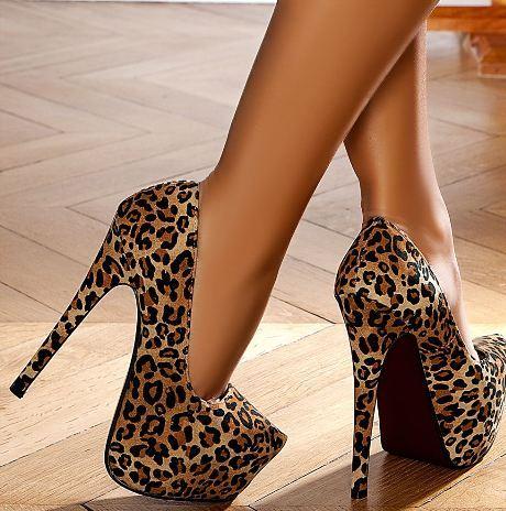 leopar platform yüksek topuklu ayakkabı modelleri