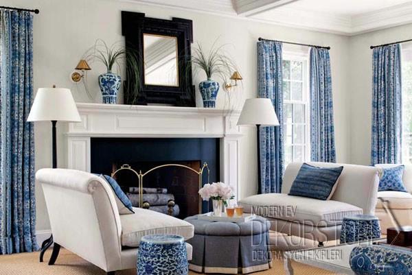 mavi beyaz salon dekorasyonu