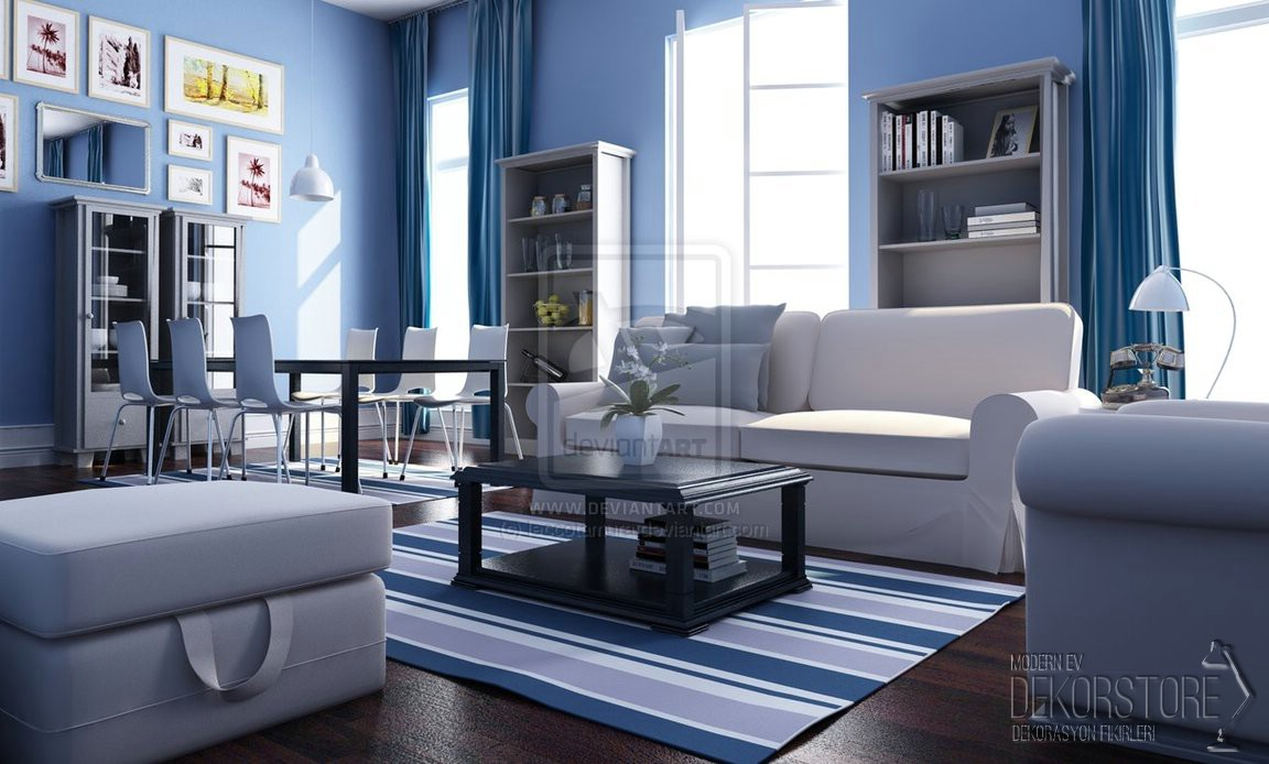 white and blue living room mavi beyaz salon dekorasyon modelleri dekorstore 169 2018 19488