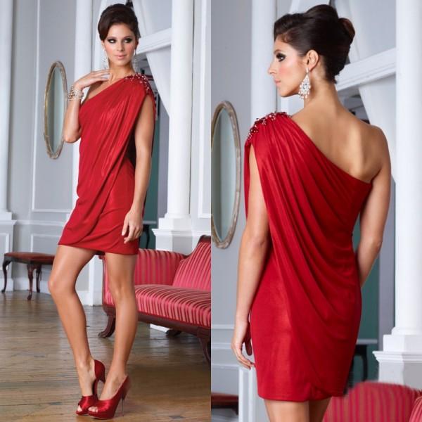 tek omuzlu kırmızı elbise modelleri