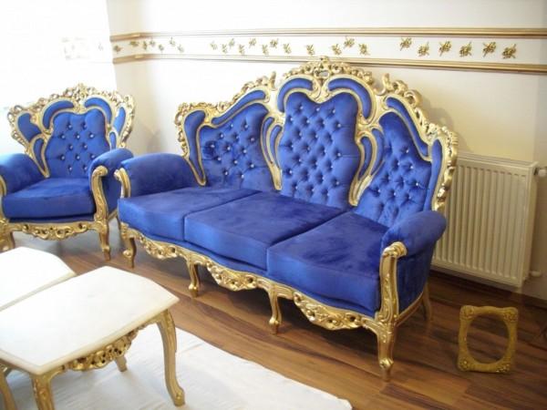 altın yaldızlı mavi klasik oturma grubu