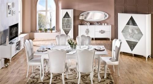 beyaz klasik vintage yemek odası