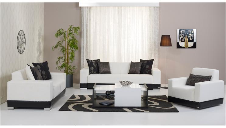 Modern Siyah Beyaz Alfemo Oturma Grubu Dekorstore
