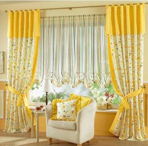 sarı çiçekli perde modelleri