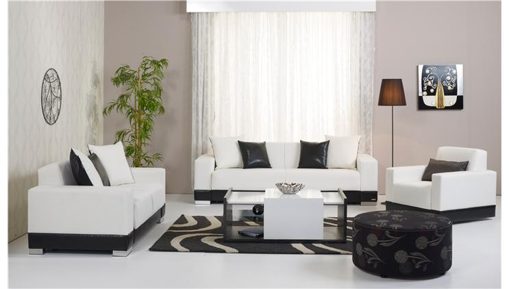 Siyah Beyaz Alfemo Oturma Grubu Dekorstore