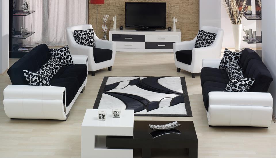 Siyah Beyaz Oturma Grubu Modelleri Dekorstore