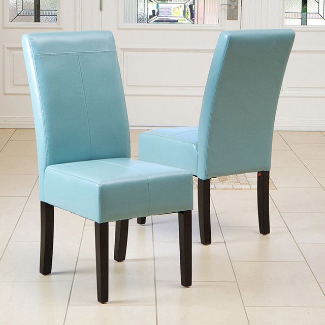 Modern mavi deri sandalye modeli dekorstore for Leather parsons dining chairs