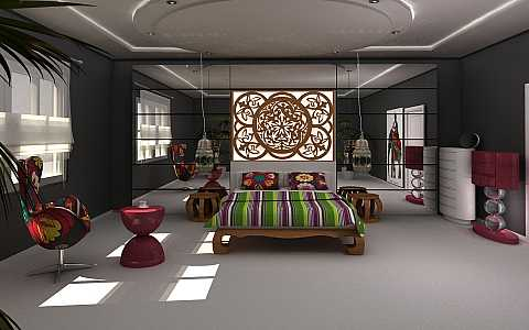 origami-mobilya-yatak-odası dekorasyonu
