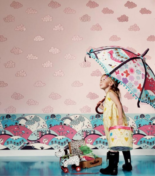 yağmur desenli çocuk odası duvar kağıtları