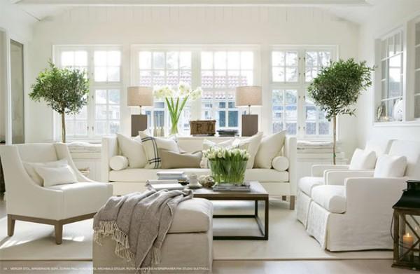 beyaz salon dekorasyon modeli