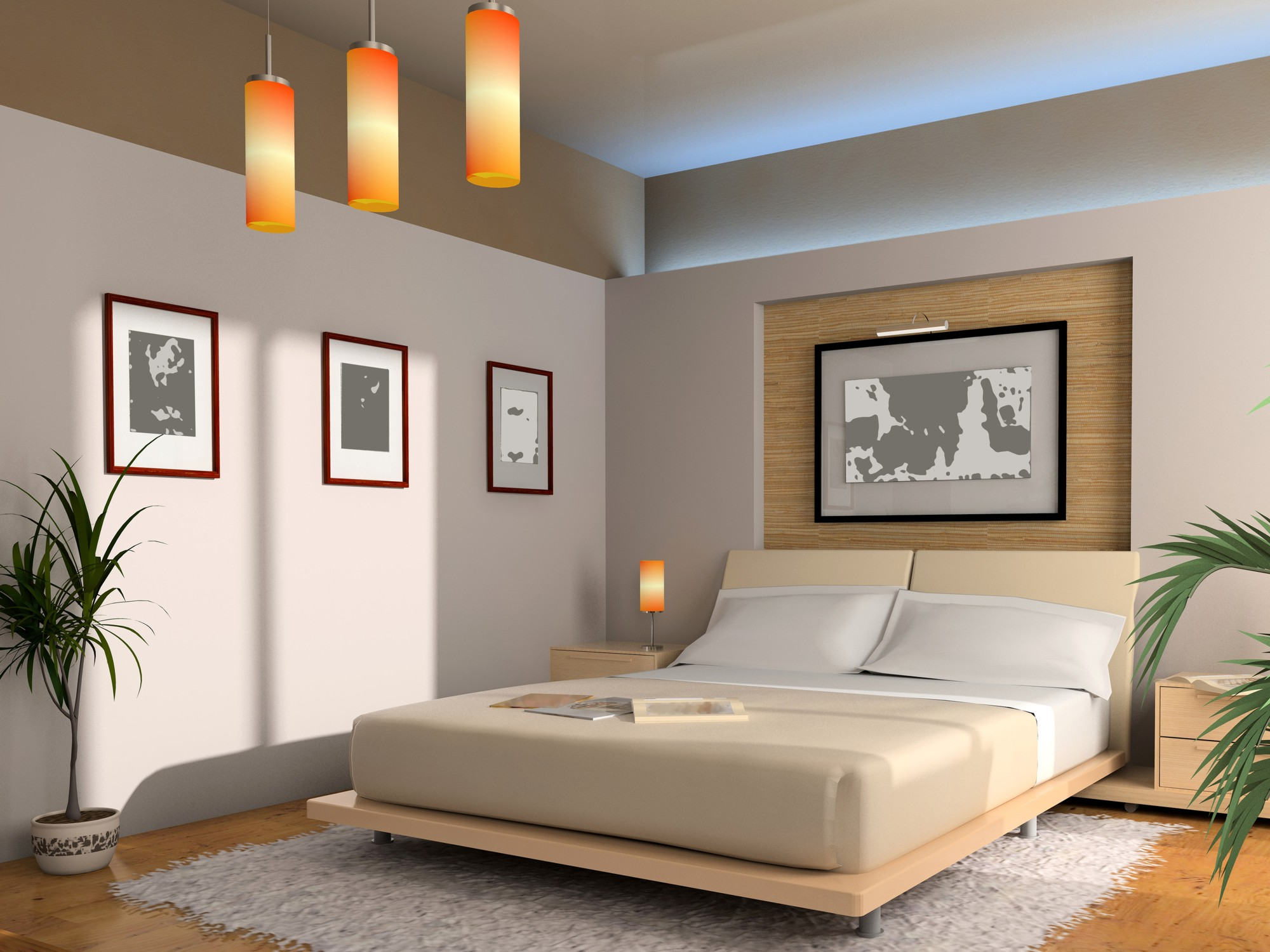 Modern interior of a bedroom with illumination dekorstore for Modern feng shui