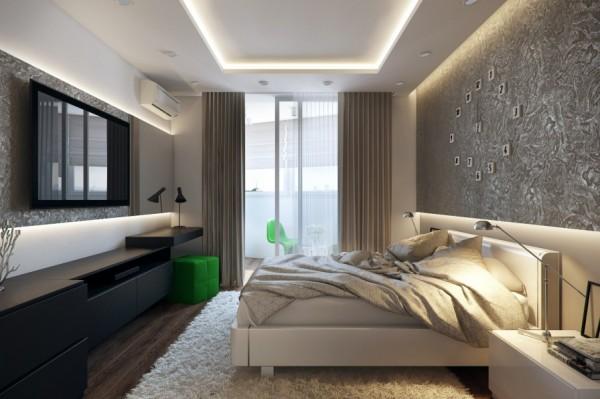 açık renklerin kullanıldığı yatak odası dekorasyonu