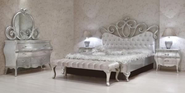 gümüş varaklı avangarde yatak odası modeli
