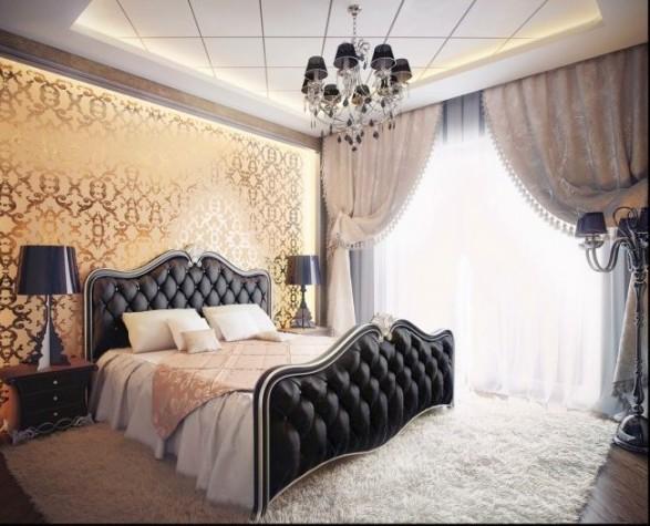lüks deri yatak odası