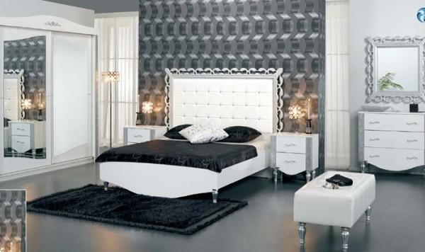 merinos gümüş varaklı  yatak odası