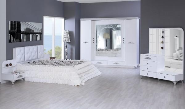 modes gümüş varaklı beyaz yatak odası