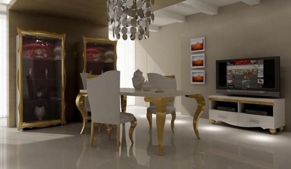 poyraz altın varaklı lüks yemek odası