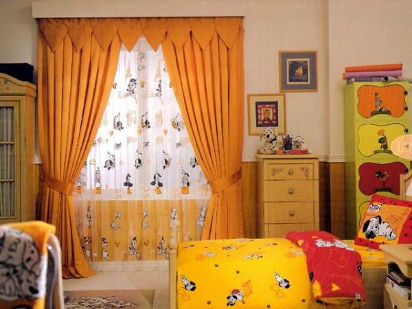 sarı çocuk odası perde modelleri