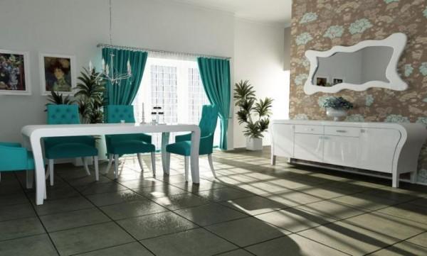 yeşil beyaz modern yemek odası