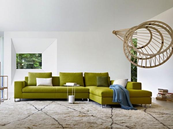 yeşil ve bej salon dekorasyonu