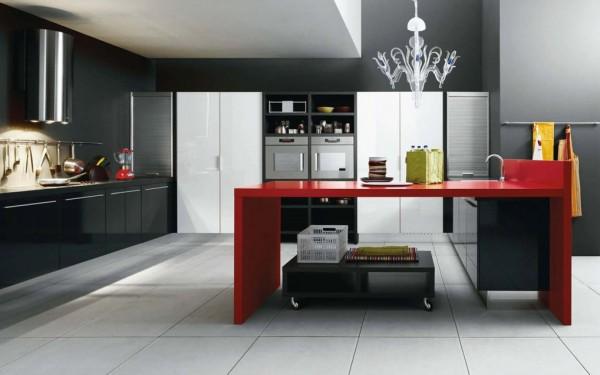 siyah kırmızı ada mutfak