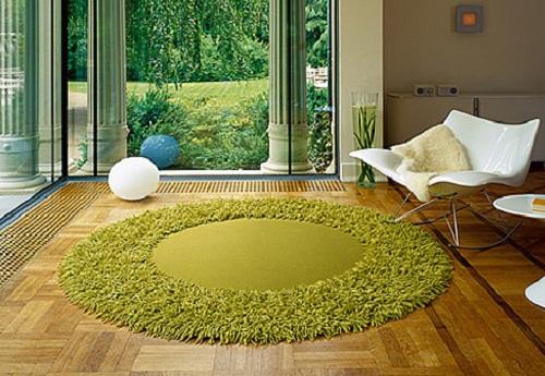 Yeşil-makarna-modelli-yuvarlak-halı