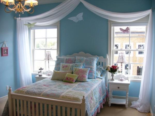 mavi-vintage-yatak-odası