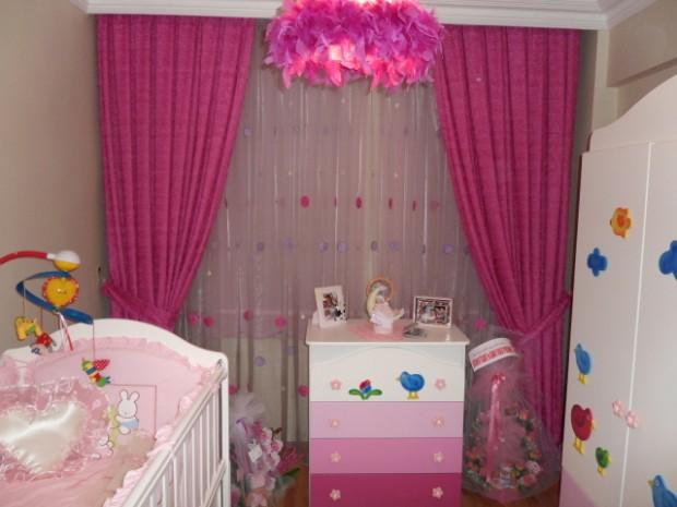 Bebek Odaları İçin Renkli Perde Modelleri  (9)
