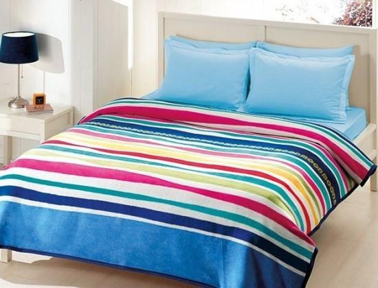 Renkli-çizgili-Freemood-Taç-çift-kişilik-battaniye-modeli