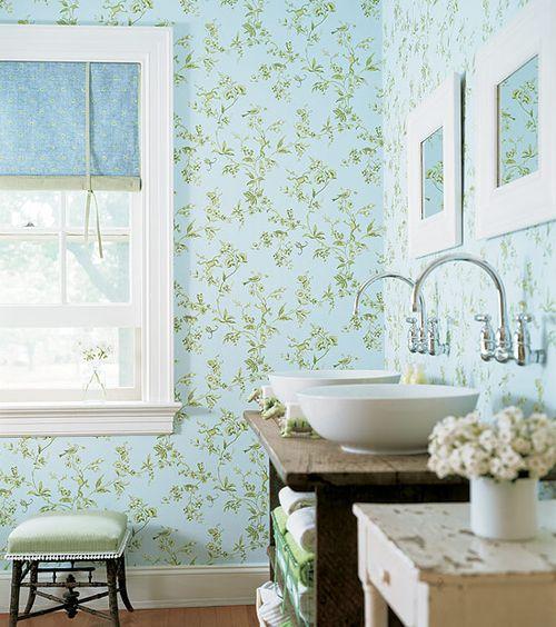 desenli mavi banyo duvar kağıdı