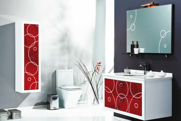 desenli yeni banyo dolapları