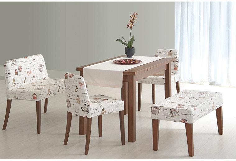 Kahverengi masa ve desenli kumastan sandalye mutfak masası modeli