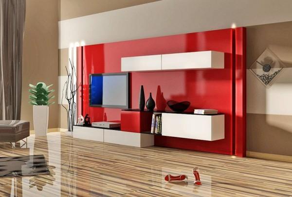 kırmızı-duvarda-beyaz-dolaplı-LCD-plazma-tv.yaşam-ünitesi