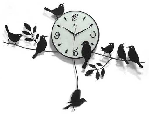 kuş-figürlü-dekoratif-salon-duvar-saati-modeli