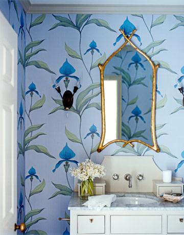 mavi desenli modern banyo duvar kağıdı
