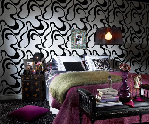 siyah beyaz desenli modern duvar kağıdı