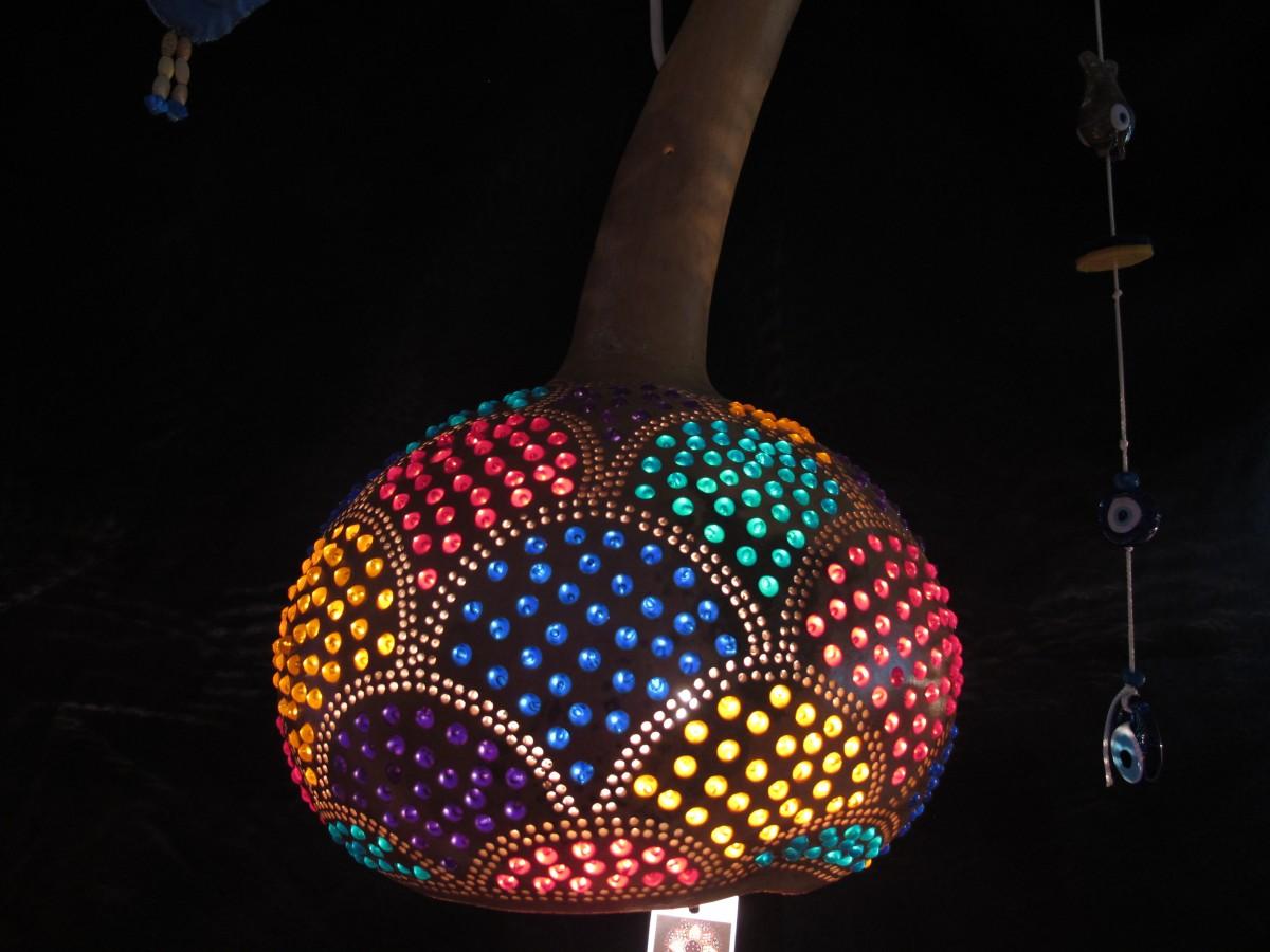 su kabağından dekoratif lamba