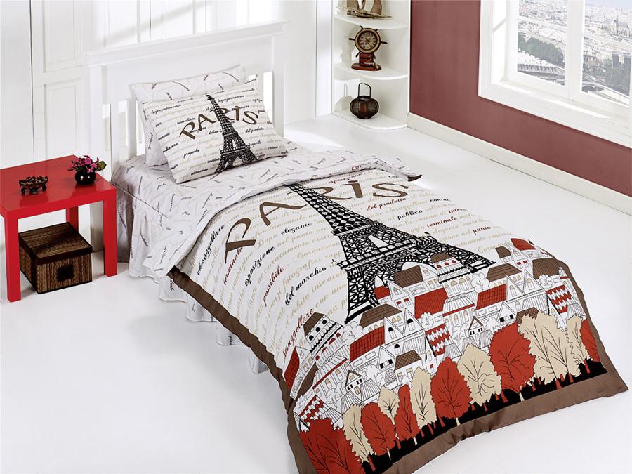 genç kızlara paris desenli yatak örtüleri