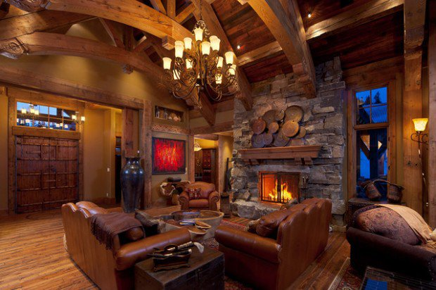 Amazing Cabin Living Room Design Ideas