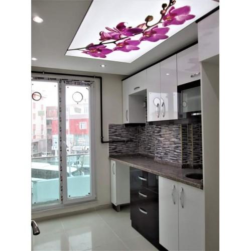 Mutfak Tavan Tasarimlari 5: Gergi-tavan-çiçekli-mutfak-500×500
